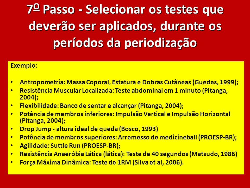 7 O Passo - Selecionar os testes que deverão ser aplicados, durante os períodos da periodização Exemplo: Antropometria: Massa Coporal, Estatura e Dobr