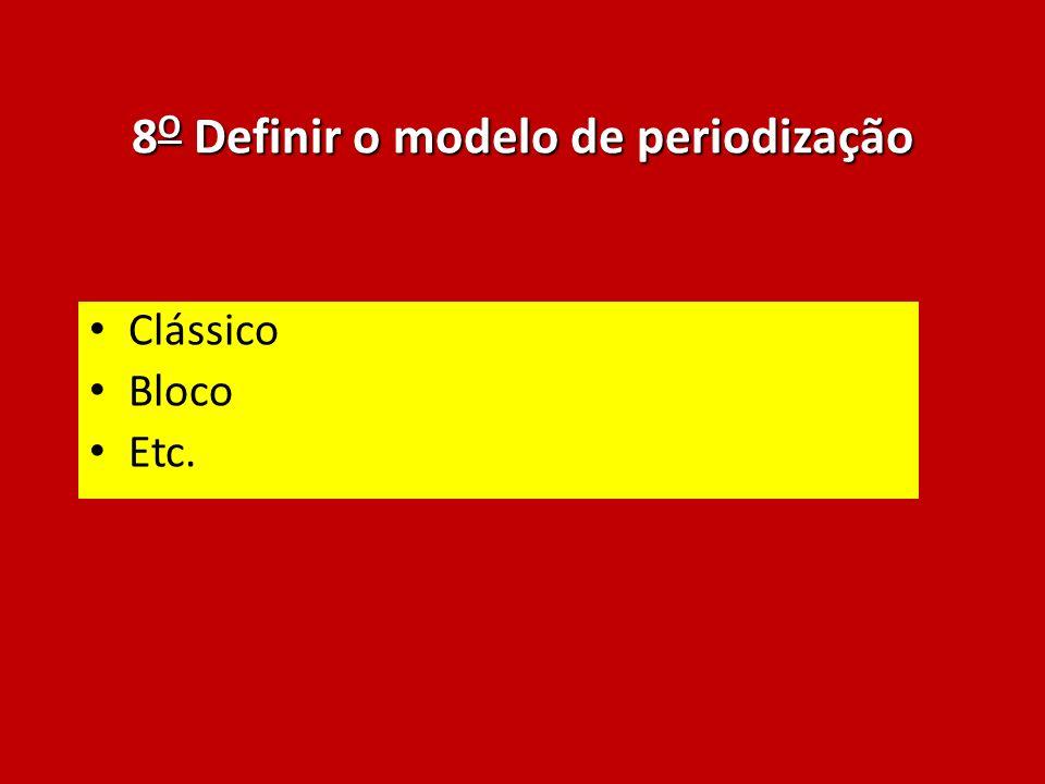 8 O Definir o modelo de periodização Clássico Bloco Etc.