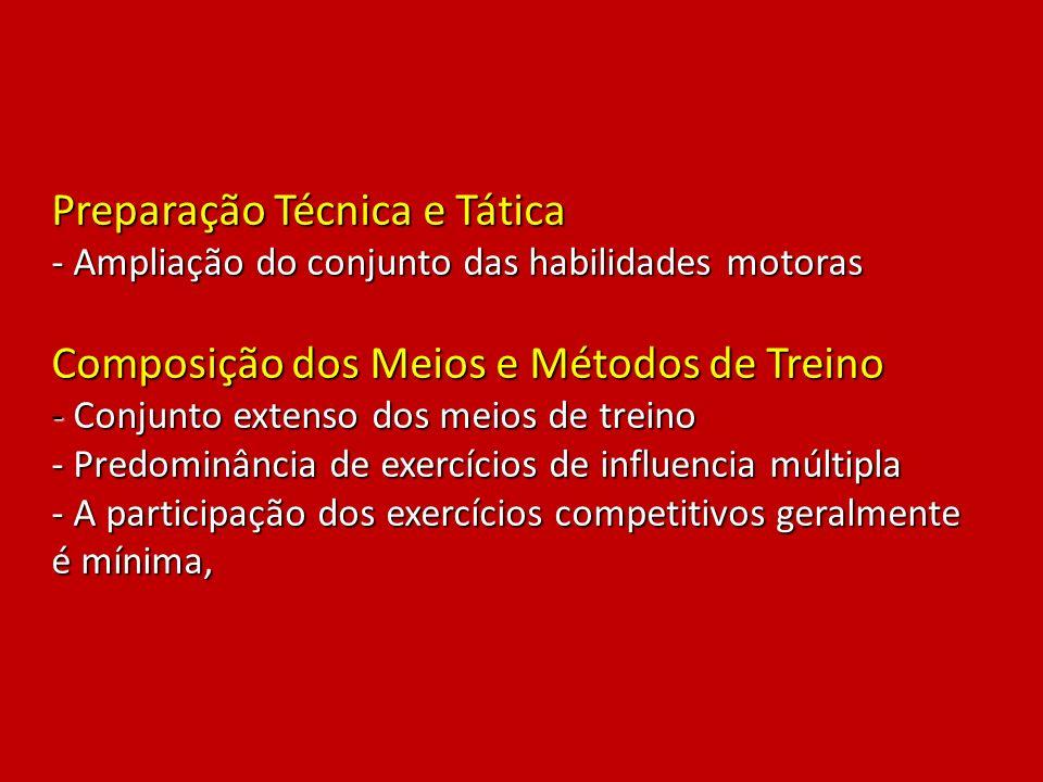 Preparação Técnica e Tática - Ampliação do conjunto das habilidades motoras Composição dos Meios e Métodos de Treino - Conjunto extenso dos meios de t