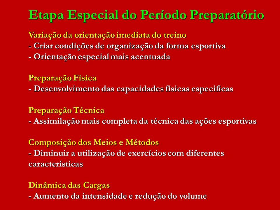 Etapa Especial do Período Preparatório Variação da orientação imediata do treino - Criar condições de organização da forma esportiva - Orientação espe
