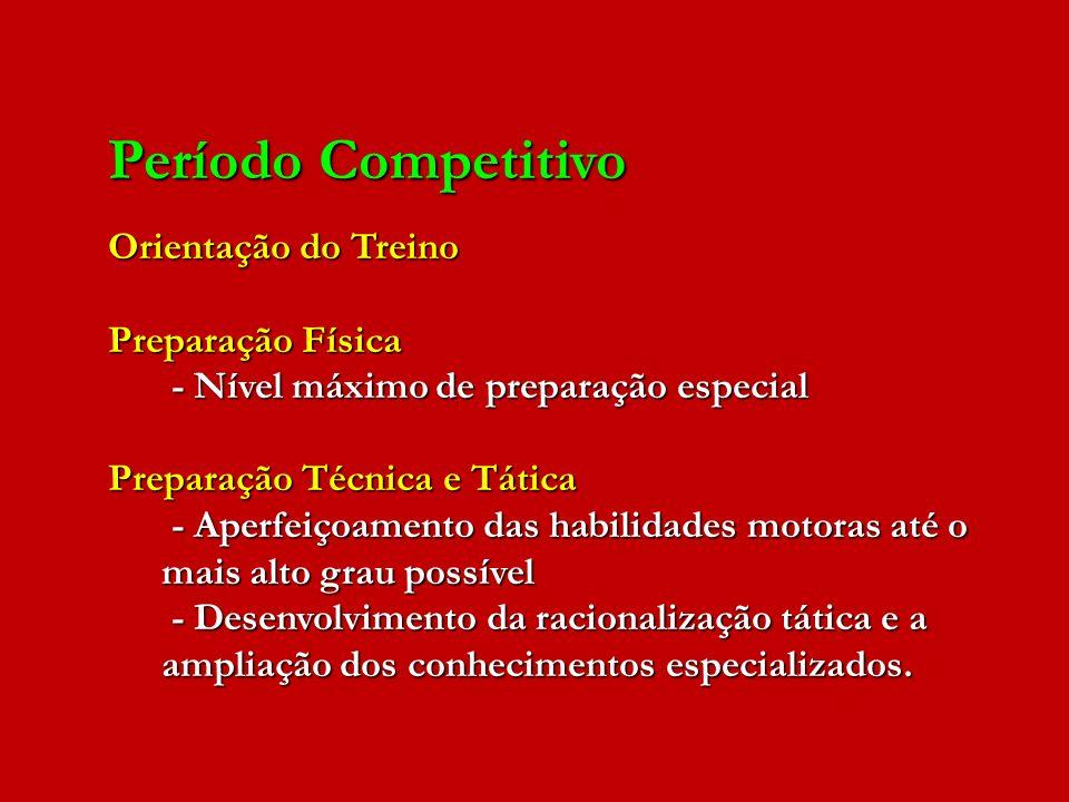 Período Competitivo Orientação do Treino Preparação Física - Nível máximo de preparação especial - Nível máximo de preparação especial Preparação Técn