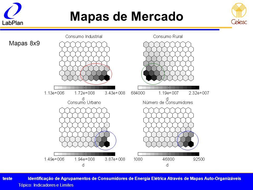 teste Identificação de Agrupamentos de Consumidores de Energia Elétrica Através de Mapas Auto-Organizáveis Tópico: Indicadores e Limites Mapas de Merc