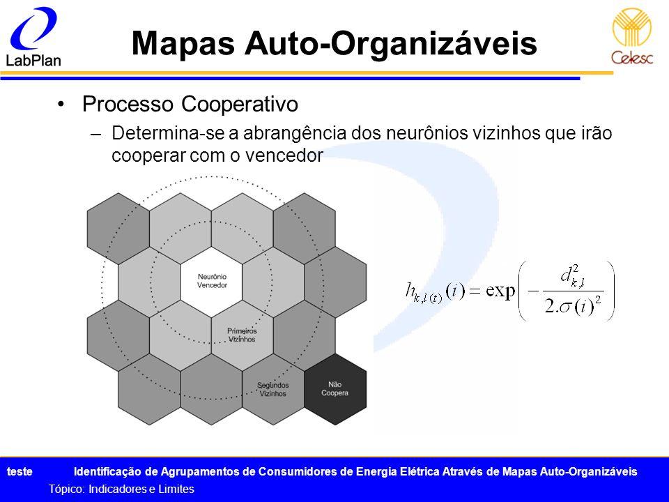 teste Identificação de Agrupamentos de Consumidores de Energia Elétrica Através de Mapas Auto-Organizáveis Tópico: Indicadores e Limites Mapas Auto-Or