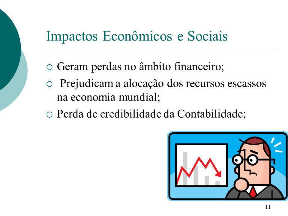 Impactos Econômicos e Sociais Geram perdas no âmbito financeiro; Prejudicam a alocação dos recursos escassos na economia mundial; Perda de credibilida