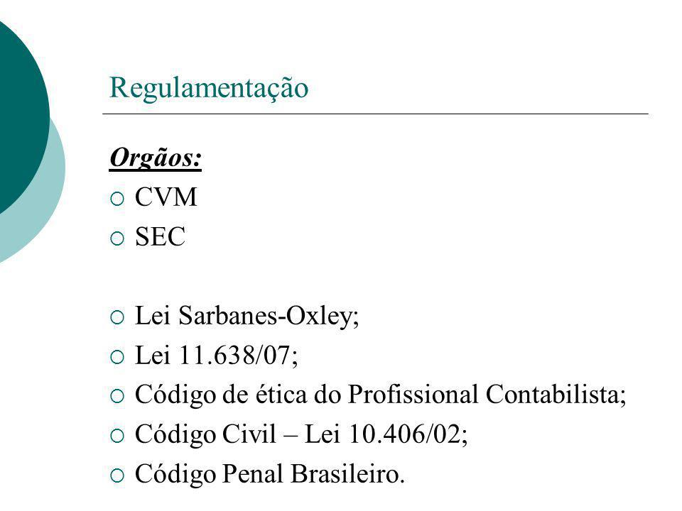 Regulamentação Orgãos: CVM SEC Lei Sarbanes-Oxley; Lei 11.638/07; Código de ética do Profissional Contabilista; Código Civil – Lei 10.406/02; Código P