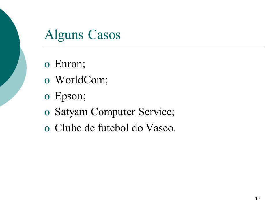 13 Alguns Casos oEnron; oWorldCom; oEpson; oSatyam Computer Service; oClube de futebol do Vasco.