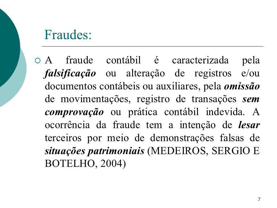 7 Fraudes: A fraude contábil é caracterizada pela falsificação ou alteração de registros e/ou documentos contábeis ou auxiliares, pela omissão de movi