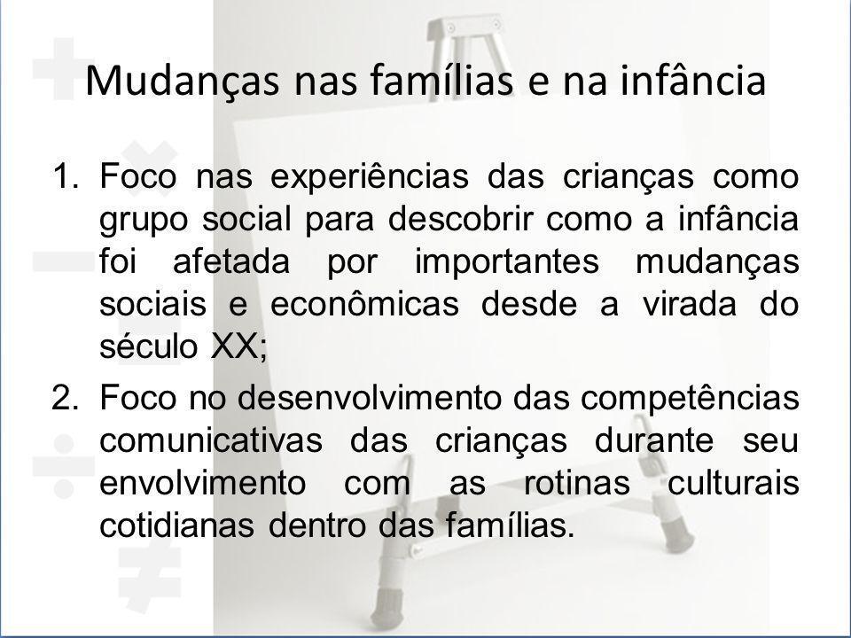 Mudanças nas famílias e na infância 1.Foco nas experiências das crianças como grupo social para descobrir como a infância foi afetada por importantes