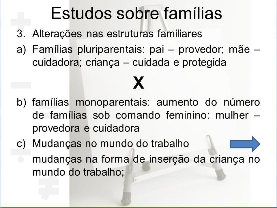 Estudos sobre famílias 3.Alterações nas estruturas familiares a)Famílias pluriparentais: pai – provedor; mãe – cuidadora; criança – cuidada e protegid