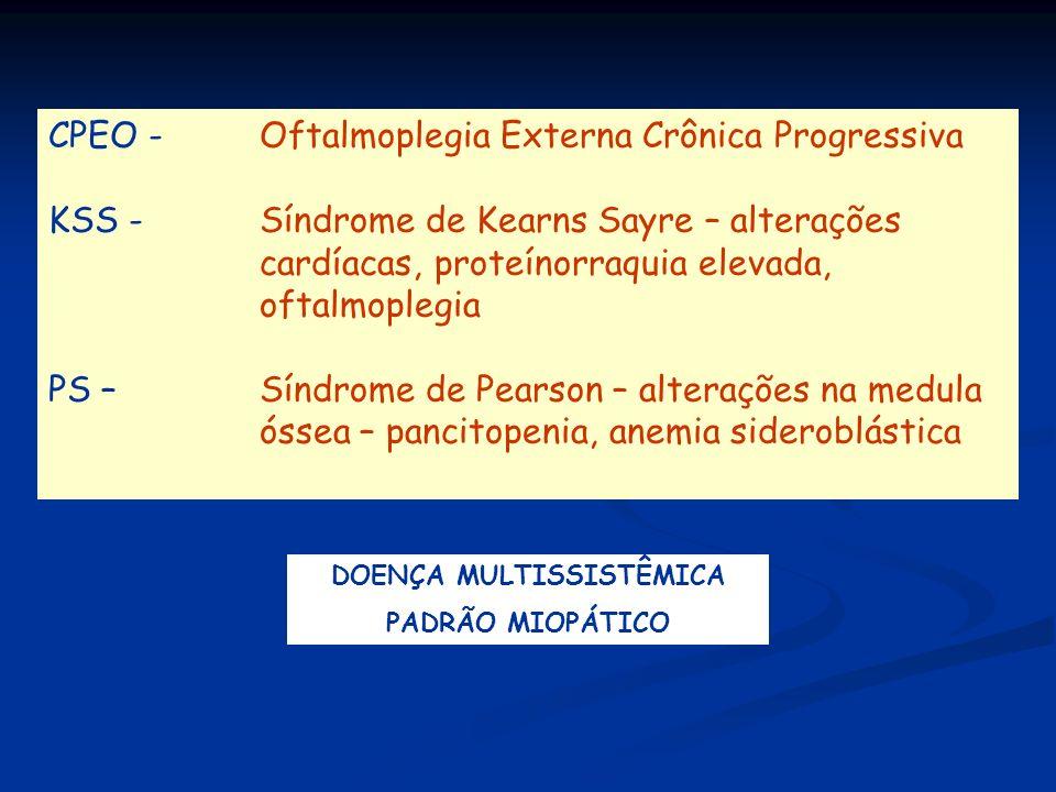 CPEO - Oftalmoplegia Externa Crônica Progressiva KSS - Síndrome de Kearns Sayre – alterações cardíacas, proteínorraquia elevada, oftalmoplegia PS – Sí
