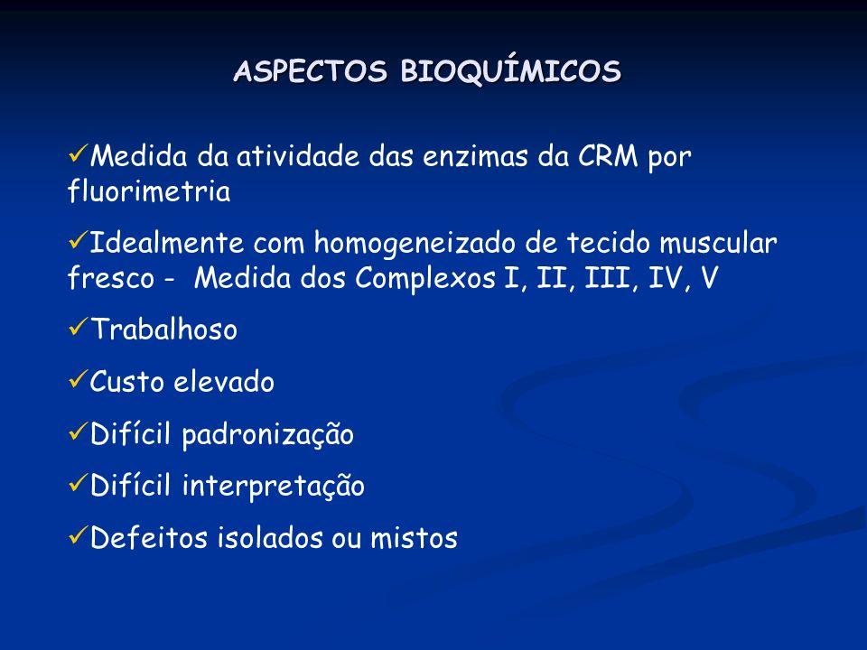 ASPECTOS BIOQUÍMICOS Medida da atividade das enzimas da CRM por fluorimetria Idealmente com homogeneizado de tecido muscular fresco - Medida dos Compl