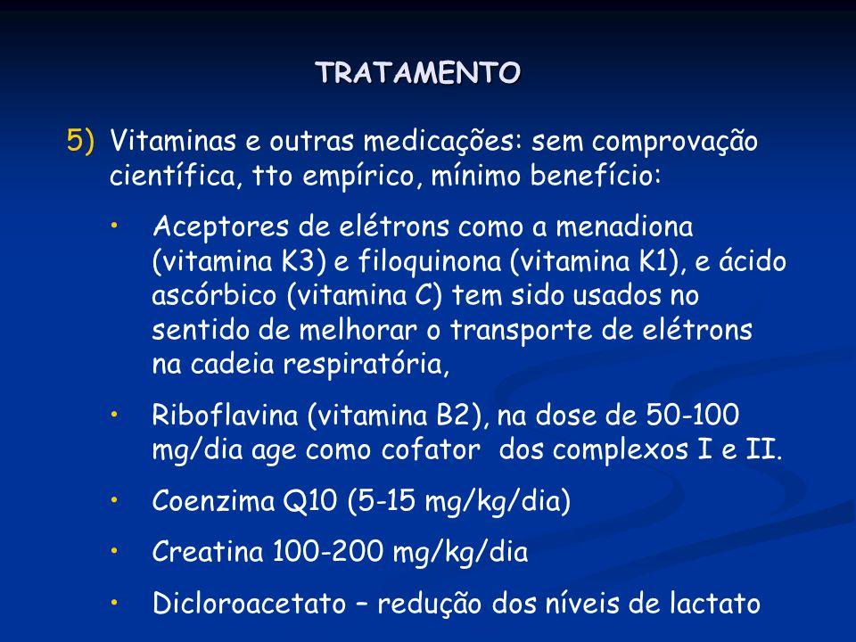 TRATAMENTO 5)Vitaminas e outras medicações: sem comprovação científica, tto empírico, mínimo benefício: Aceptores de elétrons como a menadiona (vitami