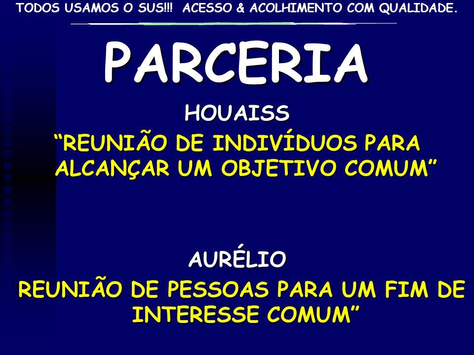 PARCERIAHOUAISS REUNIÃO DE INDIVÍDUOS PARA ALCANÇAR UM OBJETIVO COMUM AURÉLIO REUNIÃO DE PESSOAS PARA UM FIM DE INTERESSE COMUMREUNIÃO DE PESSOAS PARA