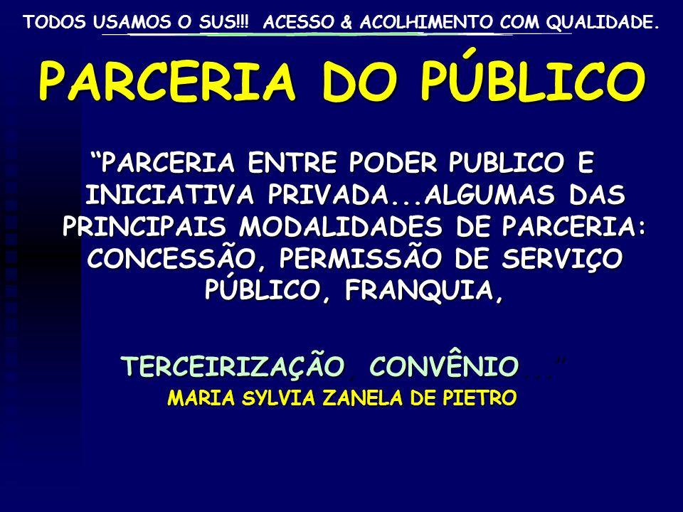 TODOS USAMOS O SUS!!! ACESSO & ACOLHIMENTO COM QUALIDADE. PARCERIA DO PÚBLICO PARCERIA ENTRE PODER PUBLICO E INICIATIVA PRIVADA...ALGUMAS DAS PRINCIPA