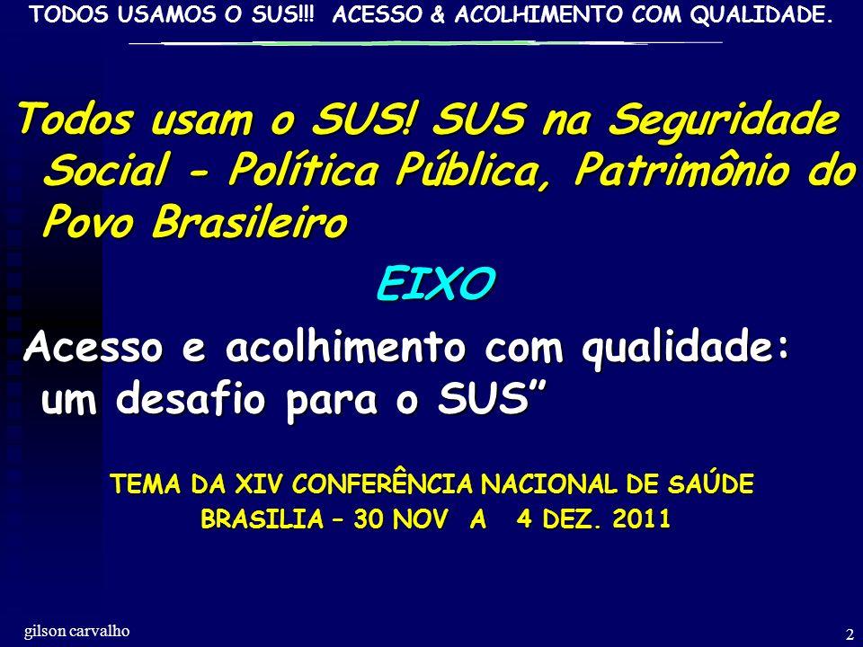GILSON CARVALHO TODOS USAMOS O SUS!!.ACESSO & ACOLHIMENTO COM QUALIDADE.