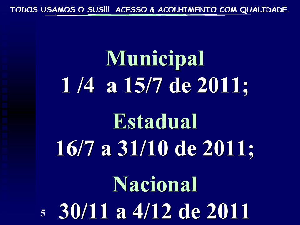 TODOS USAMOS O SUS!!! ACESSO & ACOLHIMENTO COM QUALIDADE. 5 Municipal 1 /4 a 15/7 de 2011; Estadual 16/7 a 31/10 de 2011; Nacional 30/11 a 4/12 de 201