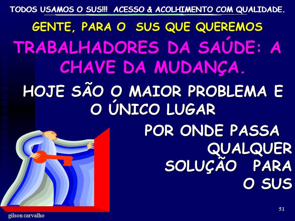 TODOS USAMOS O SUS!!! ACESSO & ACOLHIMENTO COM QUALIDADE. gilson carvalho 51 GENTE, PARA O SUS QUE QUEREMOS TRABALHADORES DA SAÚDE: A CHAVE DA MUDANÇA