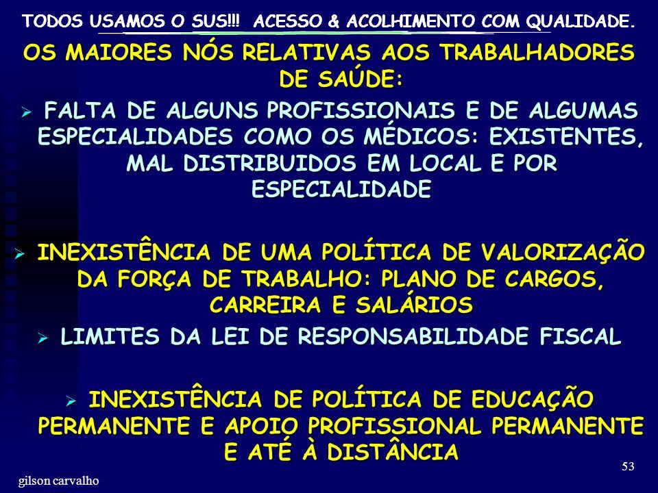 TODOS USAMOS O SUS!!! ACESSO & ACOLHIMENTO COM QUALIDADE. gilson carvalho 53 OS MAIORES NÓS RELATIVAS AOS TRABALHADORES DE SAÚDE: FALTA DE ALGUNS PROF