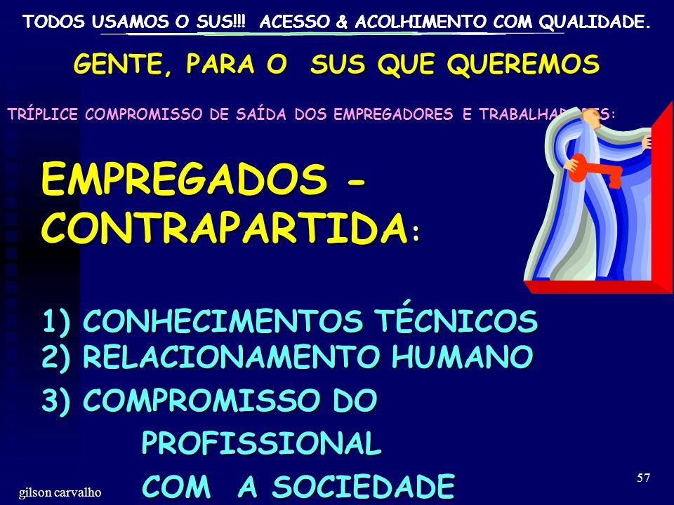 TODOS USAMOS O SUS!!! ACESSO & ACOLHIMENTO COM QUALIDADE. gilson carvalho 57 GENTE, PARA O SUS QUE QUEREMOS TRÍPLICE COMPROMISSO DE SAÍDA DOS EMPREGAD