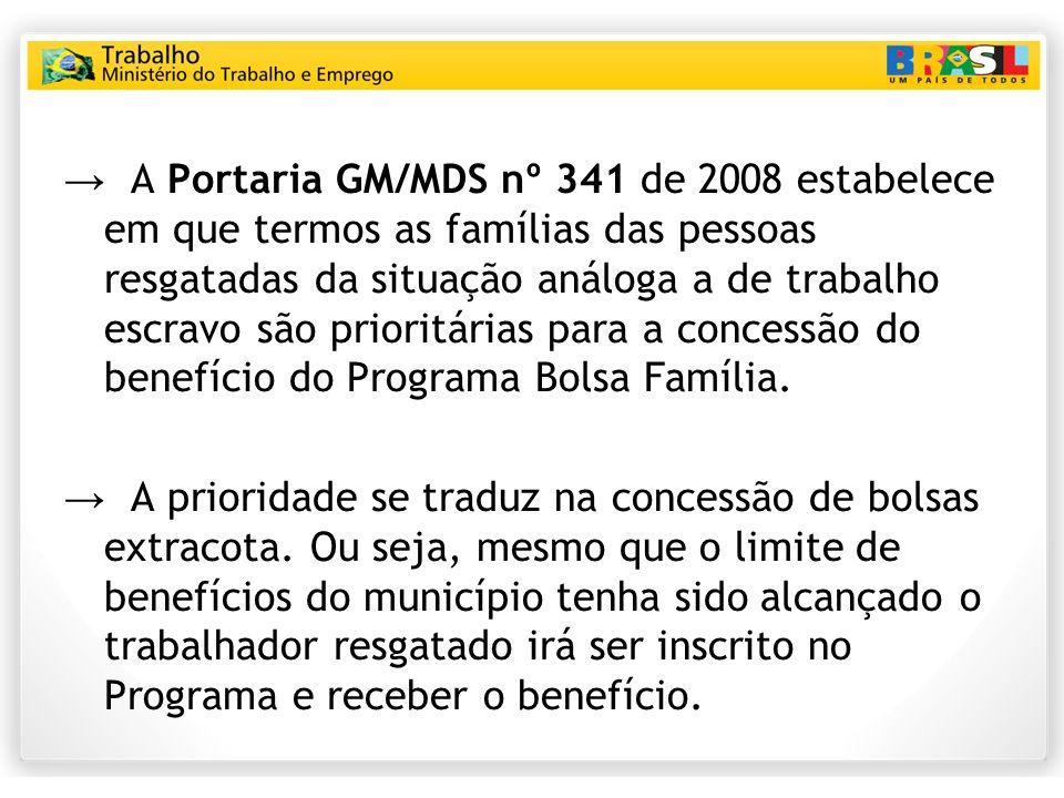 A Portaria GM/MDS nº 341 de 2008 estabelece em que termos as famílias das pessoas resgatadas da situação análoga a de trabalho escravo são prioritária