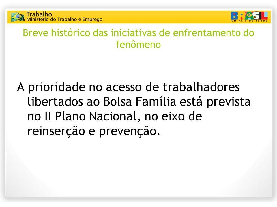 Breve histórico das iniciativas de enfrentamento do fenômeno A prioridade no acesso de trabalhadores libertados ao Bolsa Família está prevista no II P