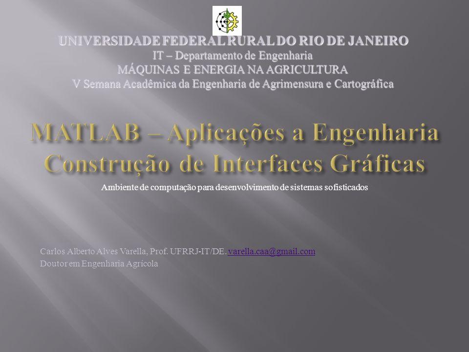 MATLAB – Aplicações a Engenharia Construção de Interfaces Gráficas Carlos Alberto Alves Varella, Prof. UFRRJ-IT/DE. varella.caa@gmail.comvarella.caa@g