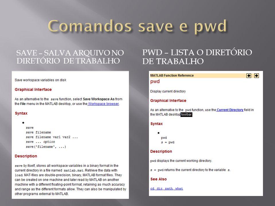 SAVE – SALVA ARQUIVO NO DIRETÓRIO DE TRABALHO PWD – LISTA O DIRETÓRIO DE TRABALHO