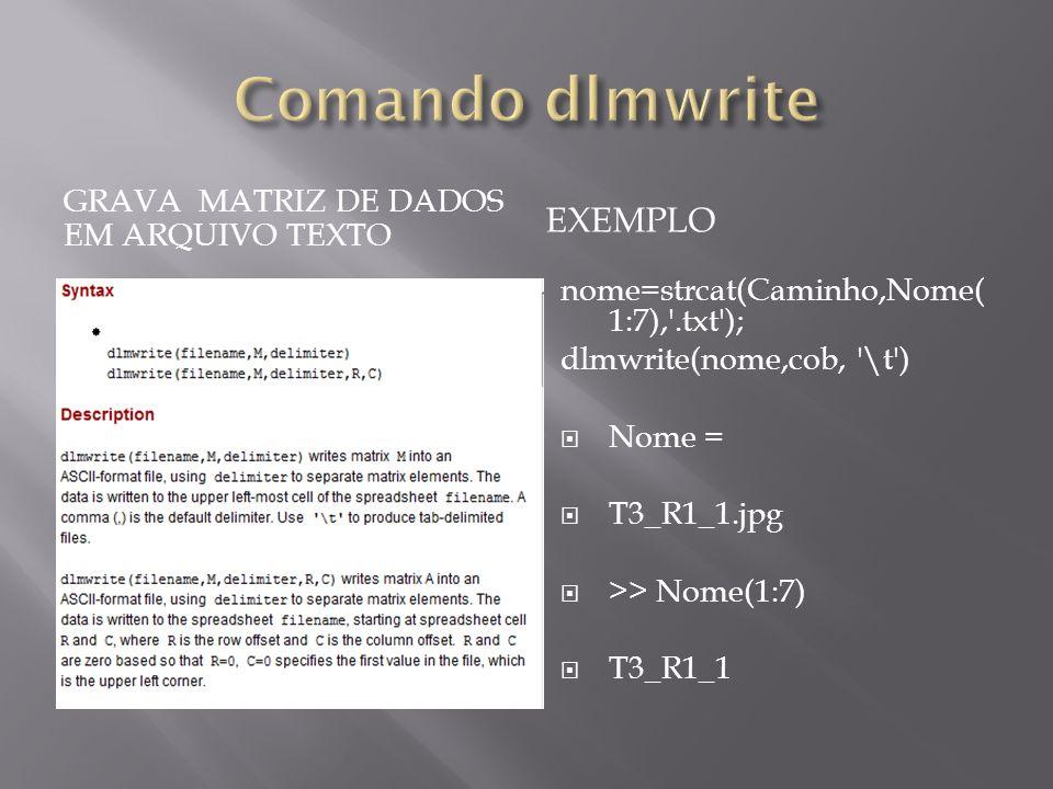 GRAVA MATRIZ DE DADOS EM ARQUIVO TEXTO EXEMPLO nome=strcat(Caminho,Nome( 1:7),'.txt'); dlmwrite(nome,cob, '\t') Nome = T3_R1_1.jpg >> Nome(1:7) T3_R1_