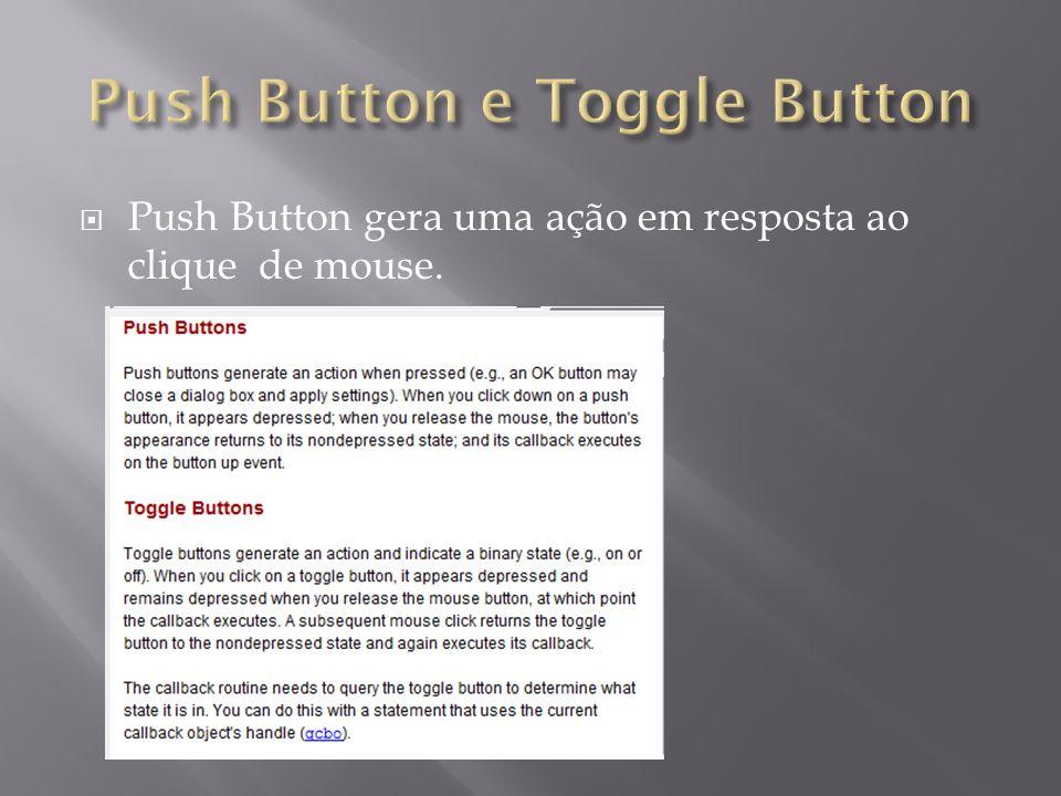 Push Button gera uma ação em resposta ao clique de mouse.