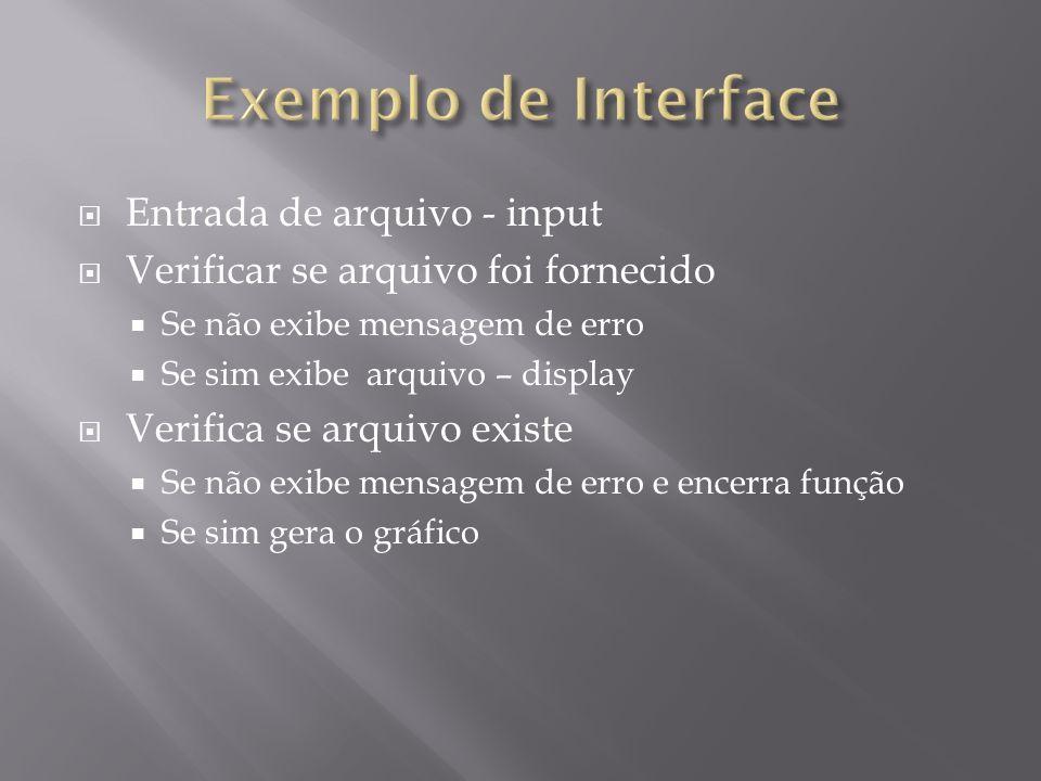 %Exemplo de interface com uso de input/display function interface () dado = input ( Nome do arquivo (digite entre e com extensao): ); if isempty (dado) %verifica se algum arquivo foi digitado display ( Nome de arquivo nao foi digitado. ); else