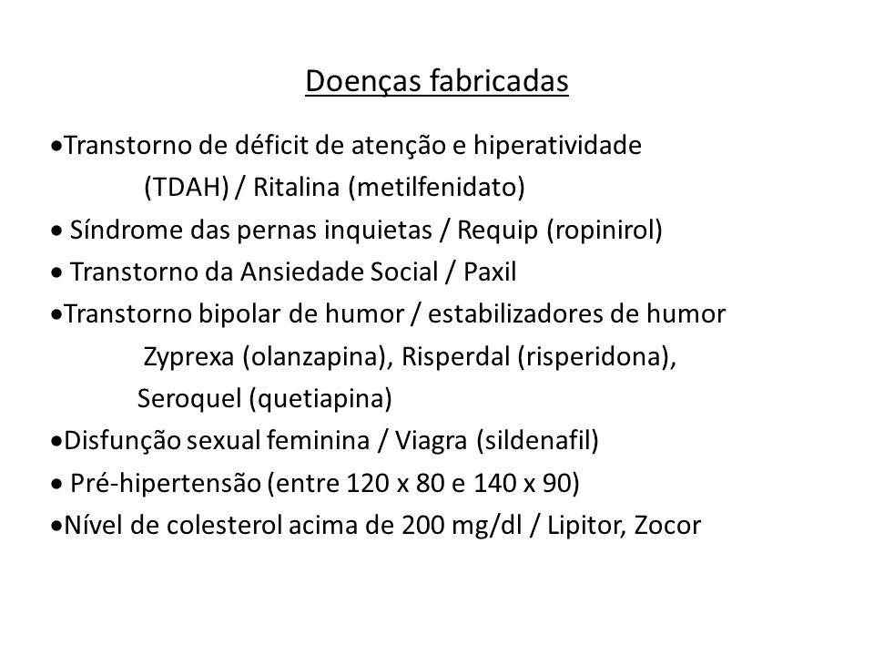 Doenças fabricadas Transtorno de déficit de atenção e hiperatividade (TDAH) / Ritalina (metilfenidato) Síndrome das pernas inquietas / Requip (ropinir