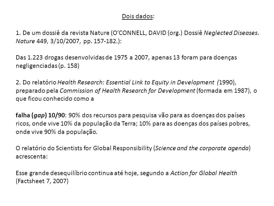 Dois dados: 1. De um dossiê da revista Nature (OCONNELL, DAVID (org.) Dossiê Neglected Diseases. Nature 449, 3/10/2007, pp. 157-182.): Das 1.223 droga