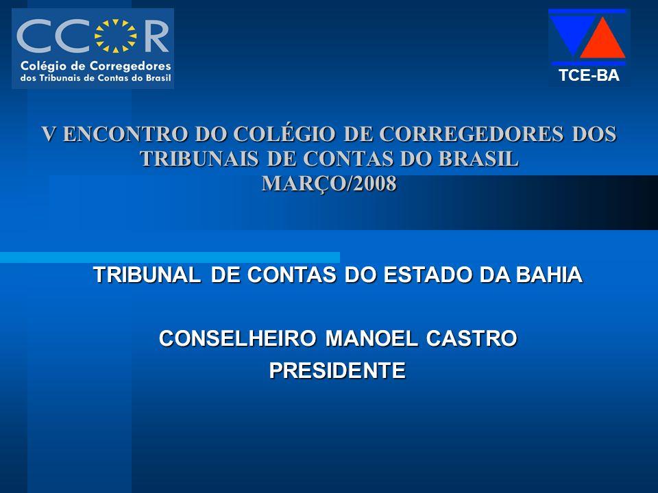 V ENCONTRO DO COLÉGIO DE CORREGEDORES DOS TRIBUNAIS DE CONTAS DO BRASIL MARÇO/2008 TRIBUNAL DE CONTAS DO ESTADO DA BAHIA CONSELHEIRO MANOEL CASTRO PRESIDENTE TCE-BA
