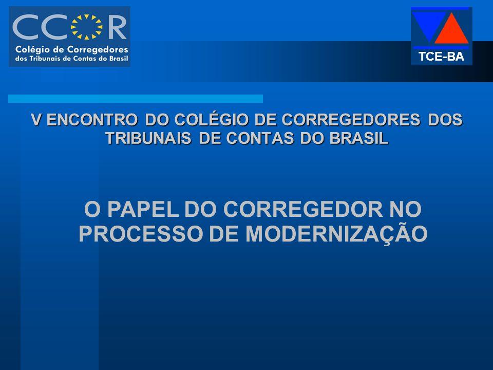 V ENCONTRO DO COLÉGIO DE CORREGEDORES DOS TRIBUNAIS DE CONTAS DO BRASIL O PAPEL DO CORREGEDOR NO PROCESSO DE MODERNIZAÇÃO TCE-BA