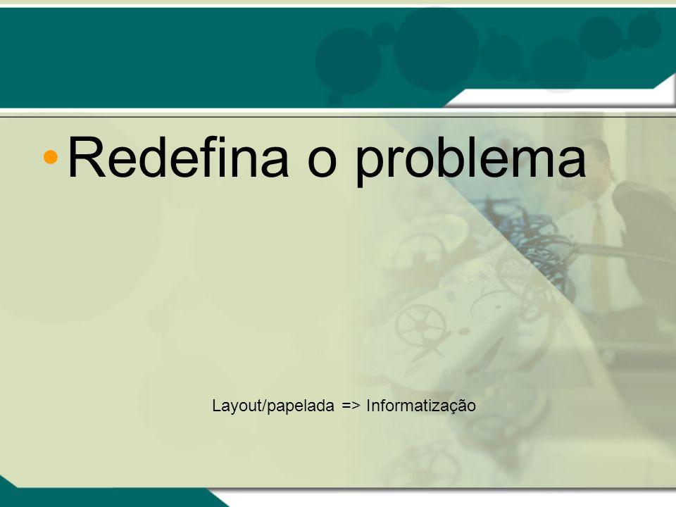 Redefina o problema Layout/papelada => Informatização