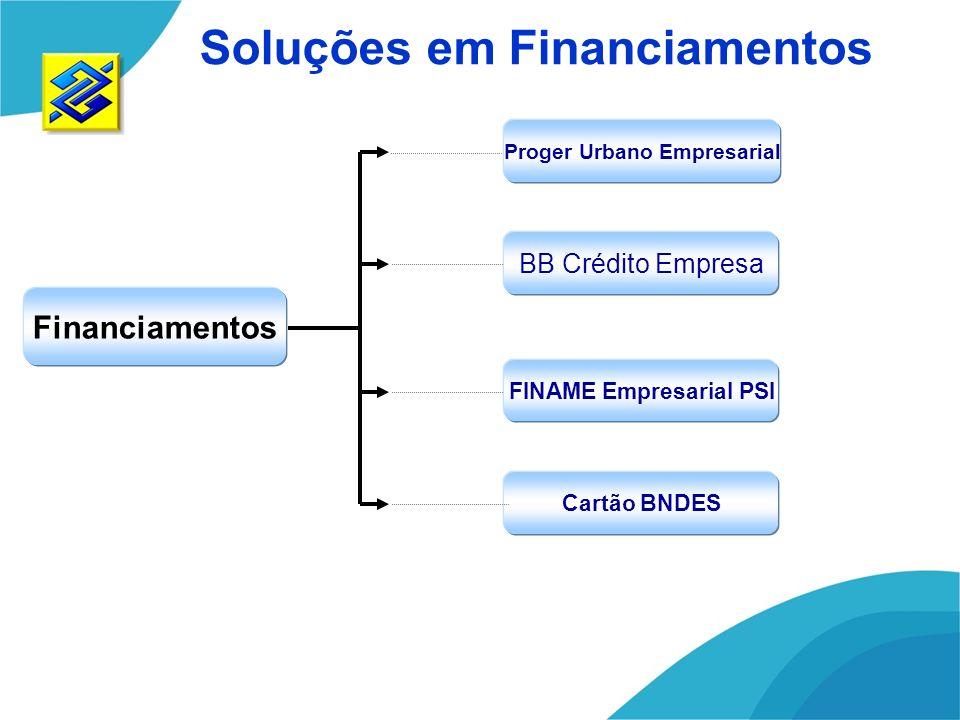 Proger Urbano Empresarial Financiamentos FINAME Empresarial PSI Cartão BNDES Soluções em Financiamentos BB Crédito Empresa