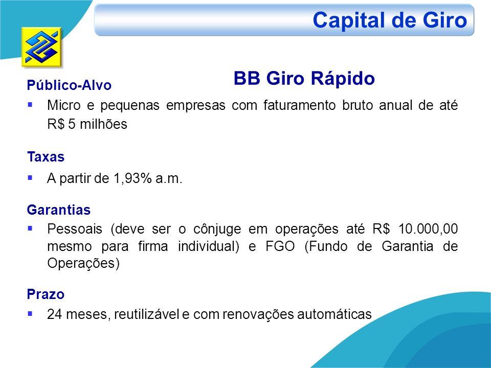 Público-Alvo Micro e pequenas empresas com faturamento bruto anual de até R$ 5 milhões Taxas A partir de 1,93% a.m. Garantias Pessoais (deve ser o côn