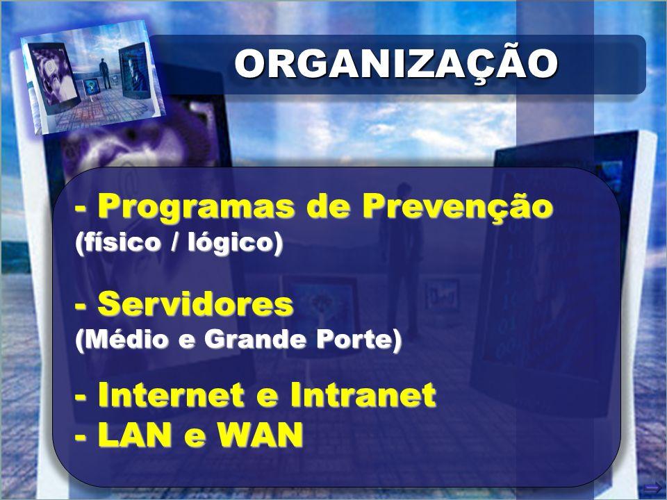 ORGANIZAÇÃOORGANIZAÇÃO - Programas de Prevenção (físico / lógico) - Servidores (Médio e Grande Porte) - Internet e Intranet - LAN e WAN