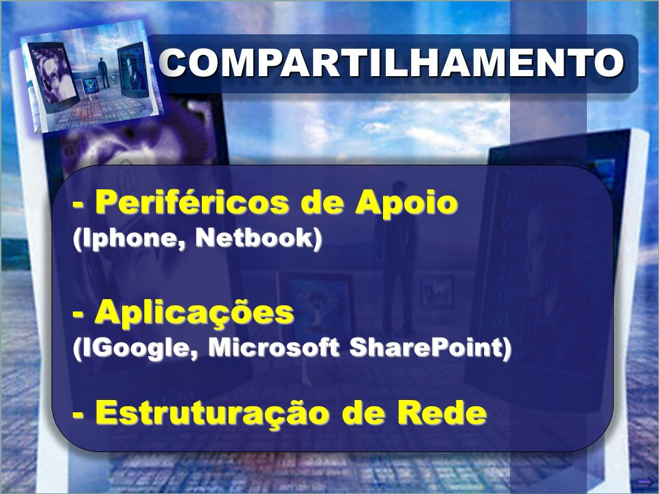 COMPARTILHAMENTOCOMPARTILHAMENTO - Periféricos de Apoio (Iphone, Netbook) - Aplicações (IGoogle, Microsoft SharePoint) - Estruturação de Rede