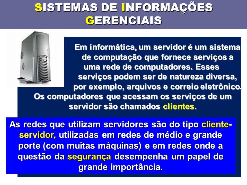SISTEMAS DE INFORMAÇÕES GERENCIAIS Em informática, um servidor é um sistema de computação que fornece serviços a uma rede de computadores.