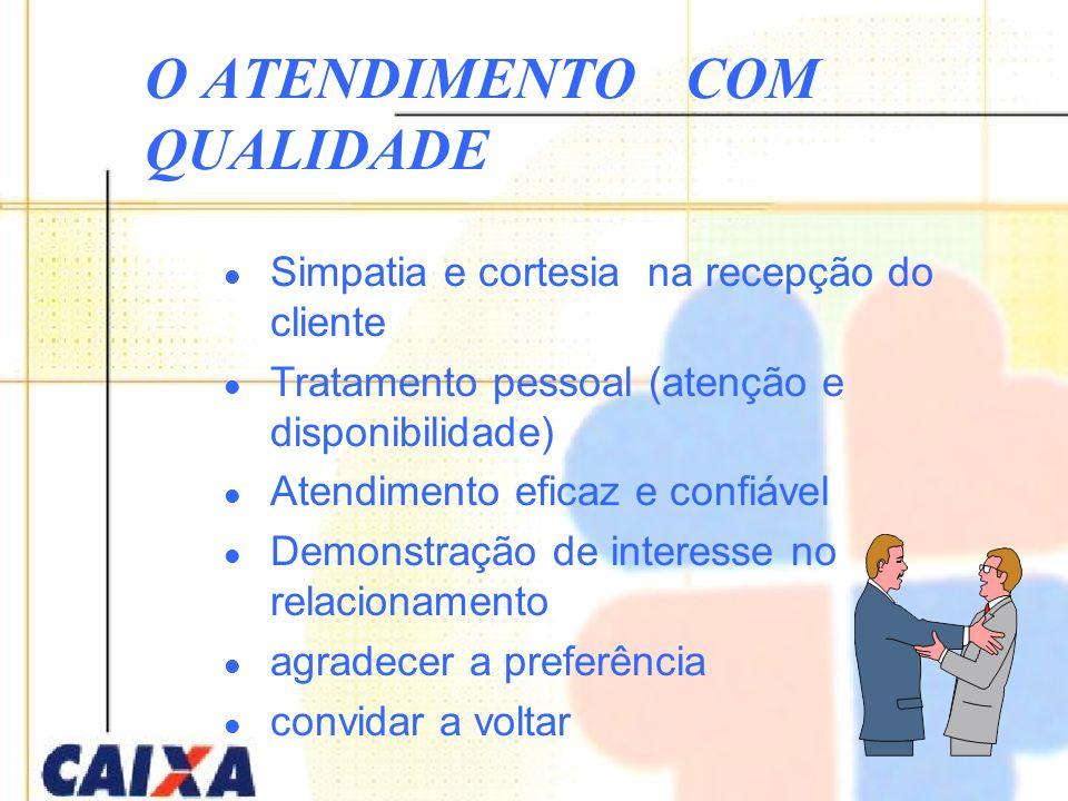 Simpatia e cortesia na recepção do cliente Tratamento pessoal (atenção e disponibilidade) Atendimento eficaz e confiável Demonstração de interesse no