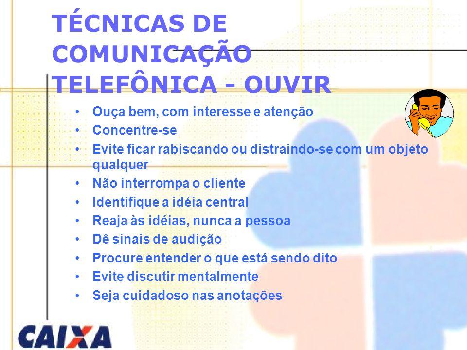 TÉCNICAS DE COMUNICAÇÃO TELEFÔNICA - OUVIR Ouça bem, com interesse e atenção Concentre-se Evite ficar rabiscando ou distraindo-se com um objeto qualqu