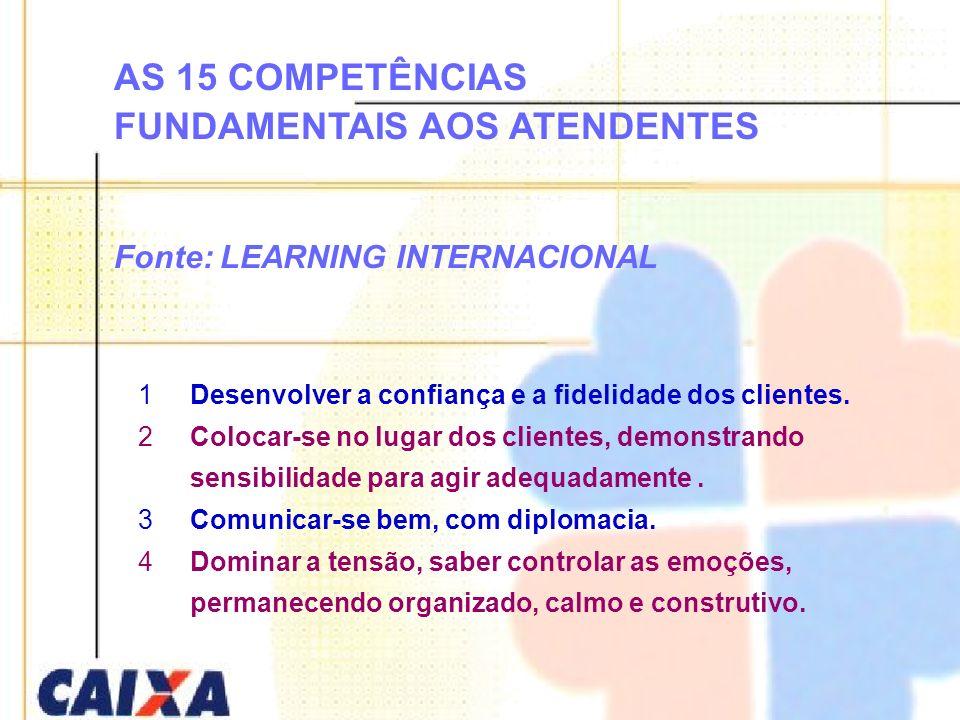 AS 15 COMPETÊNCIAS FUNDAMENTAIS AOS ATENDENTES Fonte: LEARNING INTERNACIONAL 1Desenvolver a confiança e a fidelidade dos clientes. 2Colocar-se no luga