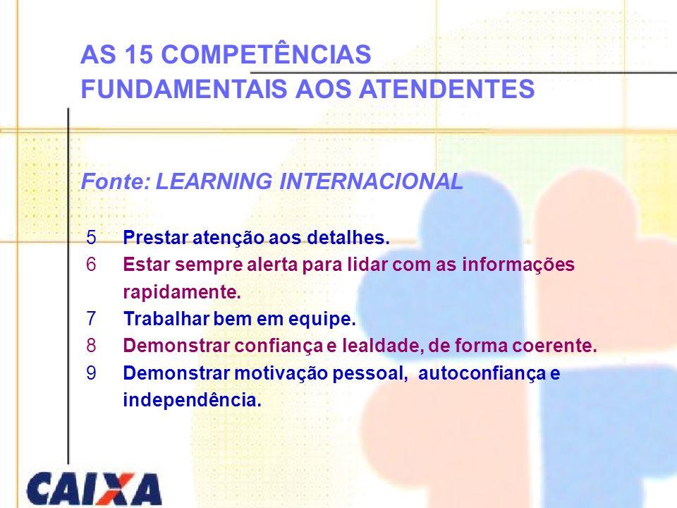 AS 15 COMPETÊNCIAS FUNDAMENTAIS AOS ATENDENTES Fonte: LEARNING INTERNACIONAL 5Prestar atenção aos detalhes. 6Estar sempre alerta para lidar com as inf