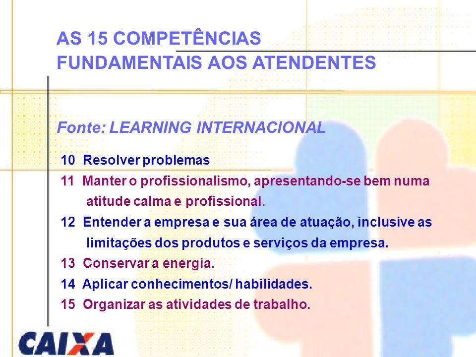 AS 15 COMPETÊNCIAS FUNDAMENTAIS AOS ATENDENTES Fonte: LEARNING INTERNACIONAL 10 Resolver problemas 11 Manter o profissionalismo, apresentando-se bem n