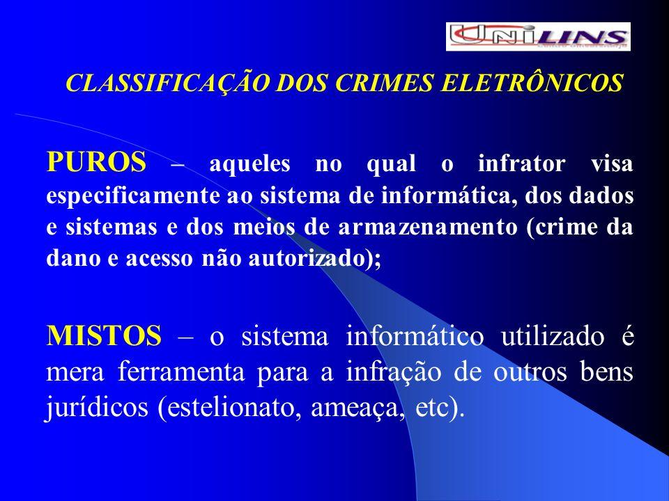 CLASSIFICAÇÃO DOS CRIMES ELETRÔNICOS PUROS – aqueles no qual o infrator visa especificamente ao sistema de informática, dos dados e sistemas e dos mei