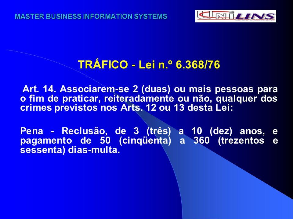 MASTER BUSINESS INFORMATION SYSTEMS MASTER BUSINESS INFORMATION SYSTEMS TRÁFICO - Lei n.º 6.368/76 Art. 14. Associarem-se 2 (duas) ou mais pessoas par