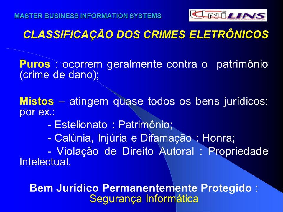 MASTER BUSINESS INFORMATION SYSTEMS MASTER BUSINESS INFORMATION SYSTEMS CLASSIFICAÇÃO DOS CRIMES ELETRÔNICOS Puros : ocorrem geralmente contra o patri