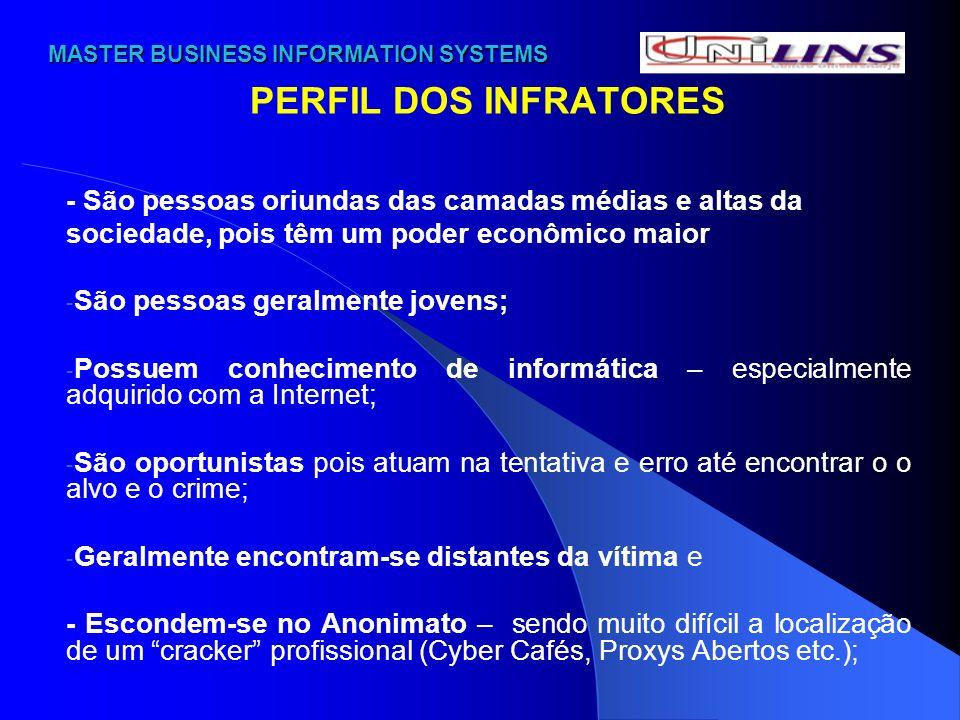 MASTER BUSINESS INFORMATION SYSTEMS MASTER BUSINESS INFORMATION SYSTEMS PERFIL DOS INFRATORES - São pessoas oriundas das camadas médias e altas da soc