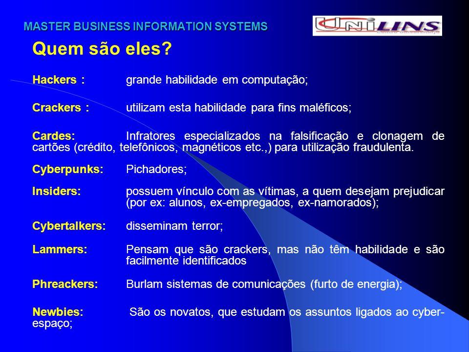 MASTER BUSINESS INFORMATION SYSTEMS MASTER BUSINESS INFORMATION SYSTEMS Quem são eles? Hackers :grande habilidade em computação; Crackers : utilizam e